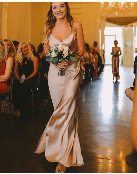 Simple Spaghetti Straps Champagne Bridesmaid Dress with Middle Slit