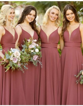 Simple Spaghetti Straps Satin Empire Bridesmaid Dress