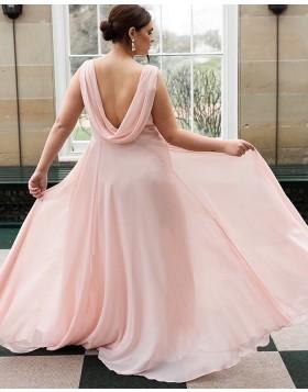 Simple Cowl Neck Chiffon A-line Bridesmaid Dress