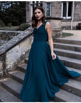 Simple Cowl Neck Chiffon A-line Bridesmaid Dress