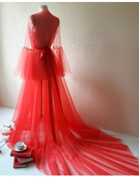 V-neck Red Tulle Bridal Boudoir Robe with Bell Sleeves BR001
