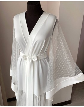 White Satin Sheer Polka Dot Bridal Robe with Long Sleeves BR002