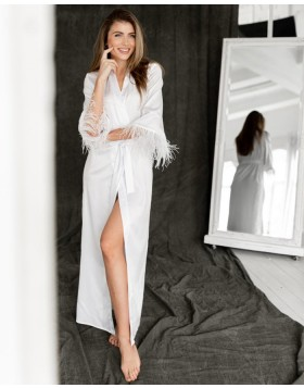 V-neck White Satin Sheath Bridal Robe with Feather Sleeves BR003
