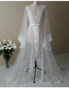 V-neck White Tulle Long Sleeved Bridal Boudoir Robe with 3D Flowers BR005