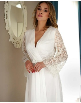 V-neck White Satin Long Bridal Robe with Lace Sleeves BR008