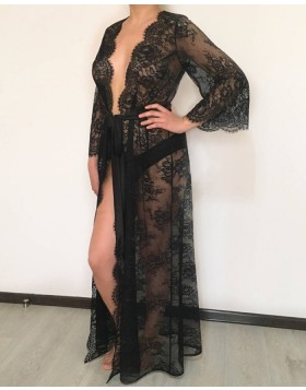 V-neck Black Lace Sheath Bridal Robe with Long Sleeves BR010