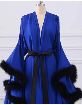 V-neck Satin Blue Feather Bridal Boudoir Robe with Bell Sleeves BR011