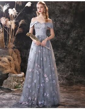 A-line Off the Shoulder Grey Lace Evening Dress