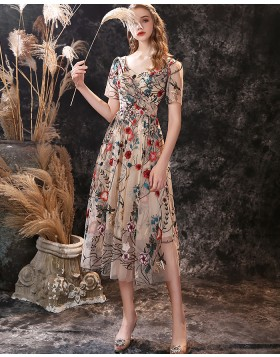 A-line V-neck Tea Length Floral Lace Evening Dress with Short Sleeves
