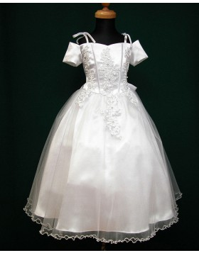 Cold Shoulder Appliqued White Satin & Tulle First Communion Dress with Bowknot FC0001