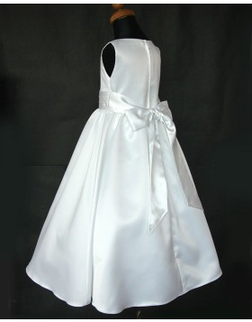 Jewel Satin White Tea Length First Communion Dress with Belt FC0002