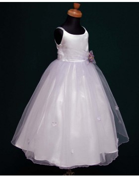 Double Spaghetti Straps White Satin & Tulle First Communion Dress with Handmade Flowers FC0003
