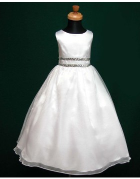 Jewel White Tulle & Satin A-line First Communion Dress with Beading Belt FC0004