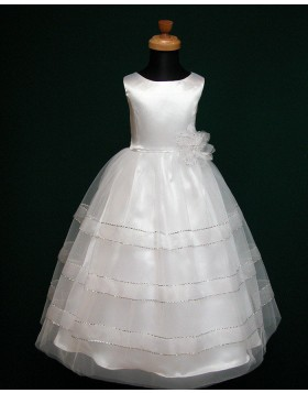Jewel White Sparkle Tulle First Communion Dress with Handmade Flower FC0005