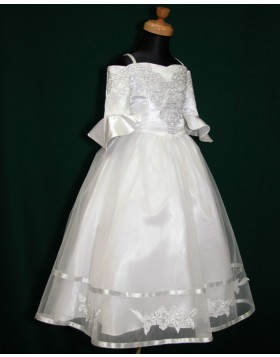 Cold Shoulder White Tea Length Tulle Appliqued First Communion Dress with Half Length Sleeves FC0006