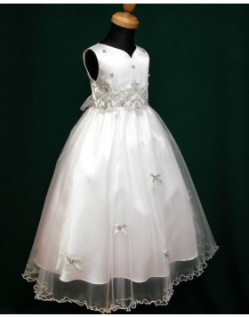 V-neck Tulle White Beading Appliqued Tea Length First Communion Dress FC0007