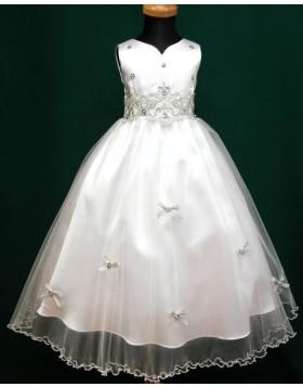 V-neck Tulle White Beading Appliqued Tea Length First Communion Dress FC0007
