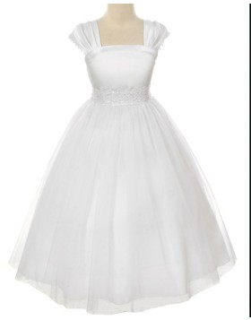 Square White Tulle Tea Length Beading First Communion Dress FC0008