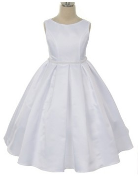 Jewel White Satin Tea Length First Communion Dress with Beadings FC0009