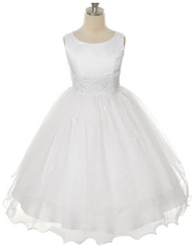 Scoop Lace Appliqued Tulle White First Communion Dress FC0010