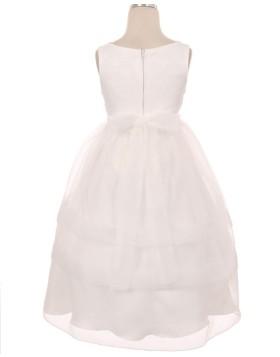 Jewel Lace White Bodice Tulle Tea Length First Communion Dress FC0011