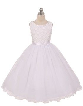 Scoop Lace Bodice White Tulle First Communion Dress with Bowknot FC0012