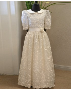 High Neck White Lace Girl Dress with Half Length Sleeves FC0014