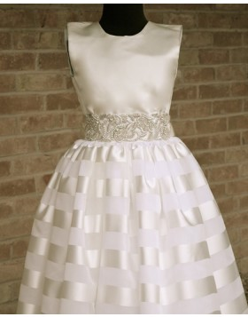 High Neck Satin Beading Appliqued First Communion Dress FC0015