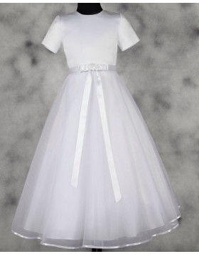 High Neck White Satin & Tulle Tea Length First Communion Dress FC0016