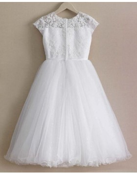 Jewel White Appliqued Bodice Girl Dress with Sparkle Skirt FC0017