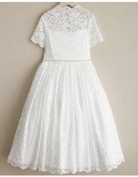 High Neck Lace White Beading Girl Dress with Short Sleeves FC0018