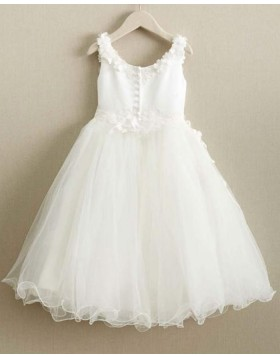 Scoop White Satin & Tulle Girl Dress with Handmade Flowers FC0019