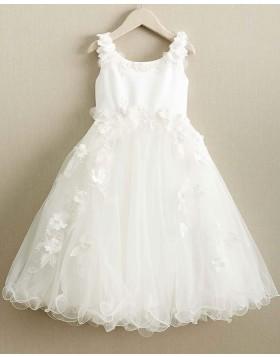 Scoop White Satin & Tulle Girl Dress with Handmade Flowers FC0019