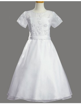 Sheer Beading White Tulle First Communion Dress with Short Sleeves FC0020