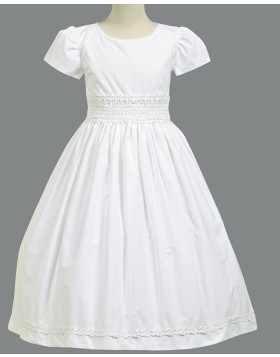 Jewel Neck White Satin Appliqued First Communion Dress with Short Sleeves FC0022