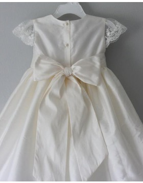 Jewel Satin White Girl Dress with Lace Cap Sleeves FC0024