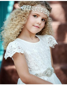 High Neck White Lace Appliqued Tulle First Communion Dress with Belt FC0027
