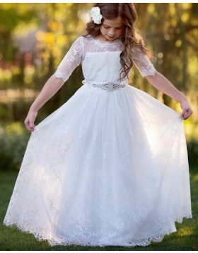 Lace White Sheer Neck First Communion Dress with Beading Belt FC0028