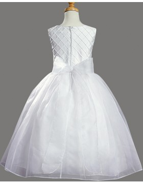 Jewel White Tulle First Communion Dress with Bowknot FC0029