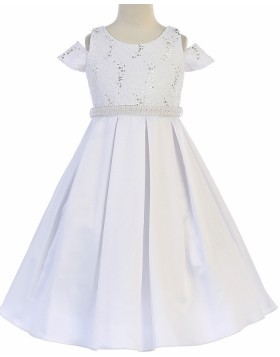 Cold Shoulder Sparkle Beading Satin First Communion Dress FC0030
