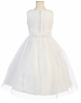 Jewel Lace Bodice White First Communion Dress with Tulle Skirt FC0031