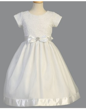 Jewel White Sequin Satin First Communion Dress with Short Sleeves FC0032