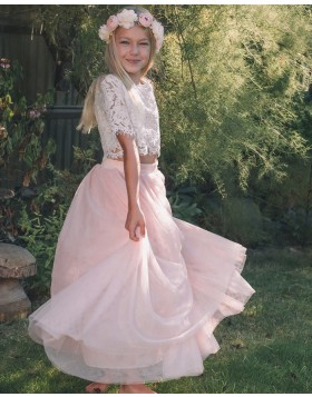 Two Piece Jewel Neck Lace Boidce Girl Dress with Tulle Skirt FG1001