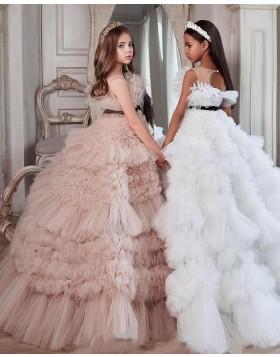 Elegant Ruffled Tulle Jewel Neck Girls Pageant Dress FG1002