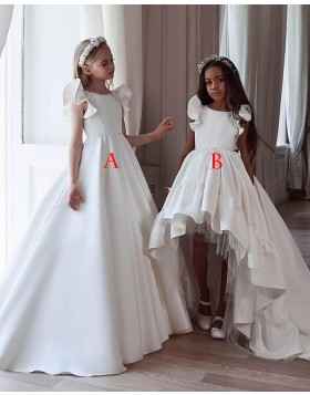White Jewel Satin High Low Pleated Flower Girl Dress FG1003