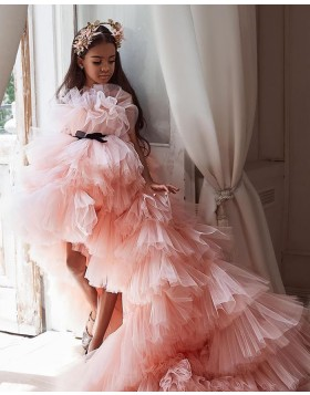 Peach Pink High Low Ruffled Pageant Dress for Girls FG1004