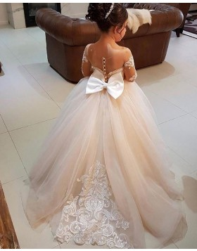 Lace Appliqued Sheer Neck Tulle Flower Girl Dress with Bowknot FG1006