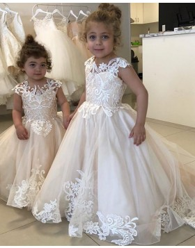 Jewel White Lace Appliqued A-line Flower Girl Dress for Fall FG1007