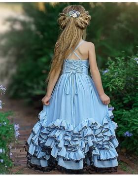 Elegant Sky Blue V-neck Satin Ruffled Girl Pageant Dress FG1008