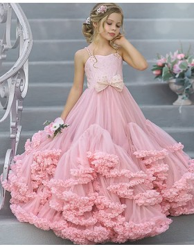Square Pink Tulle A-line Ruffled Pageant Dress for Girls FG1009